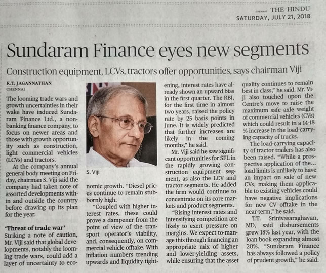 Sundaram Finance Group - Press release | News | Media