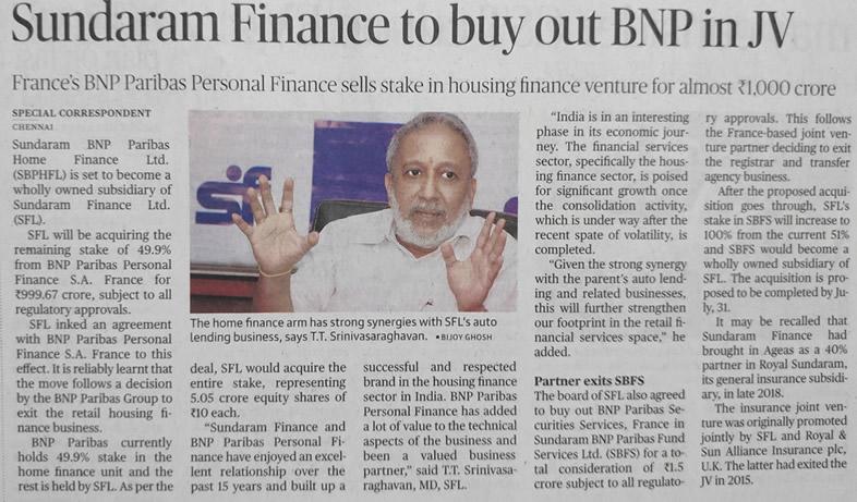 Sundaram Finance Group - Press release | News | Media